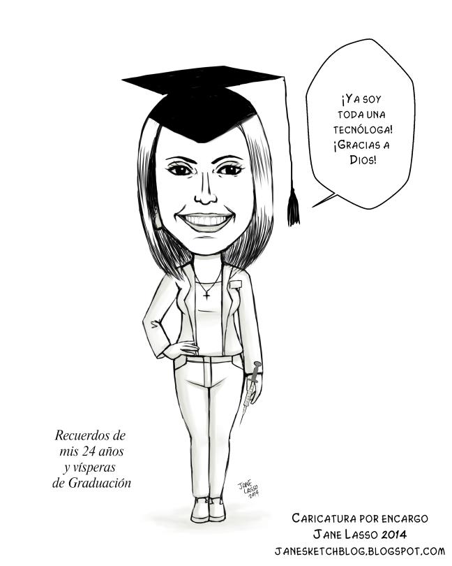 Caricatura en blanco y negro para graduación