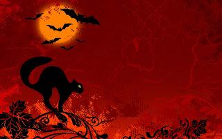 Cat Moon Bat Halloween Abstract HD Wallpaper