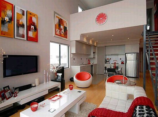 Red and white living room color scheme