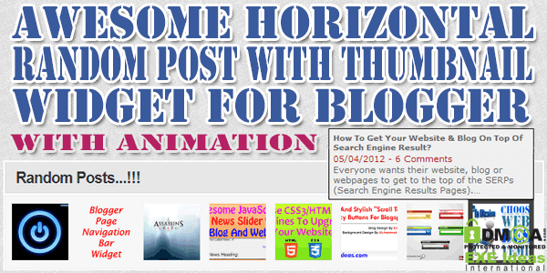 Awesome Horizontal Random Post With Thumbnail Widget For Blogger