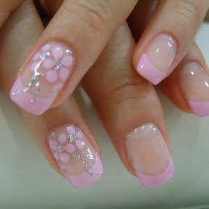 Model And Polished Nail Pink Nail Art Floral Design Nail Art
