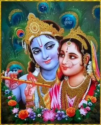 Lord Krishna with flute and Radha Rani