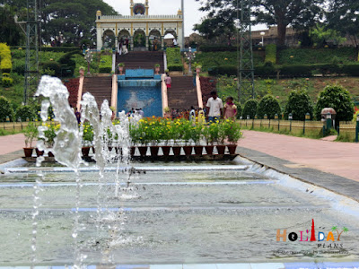 Beautiful fountains in the Brindavan gardens in Mysore