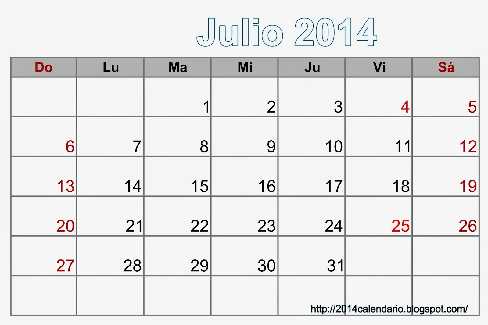 Calendario Julio 2014 en Excel, Calendario 2014 para imprimir ...