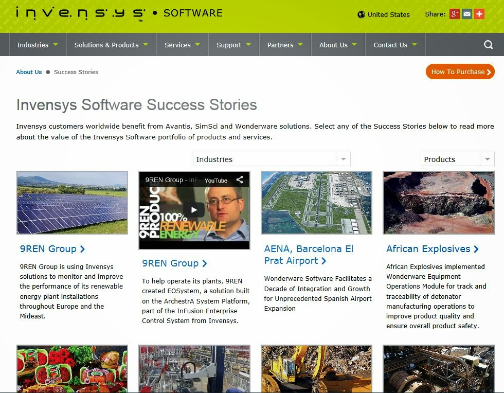 Success Story Section at Invensys Software Site