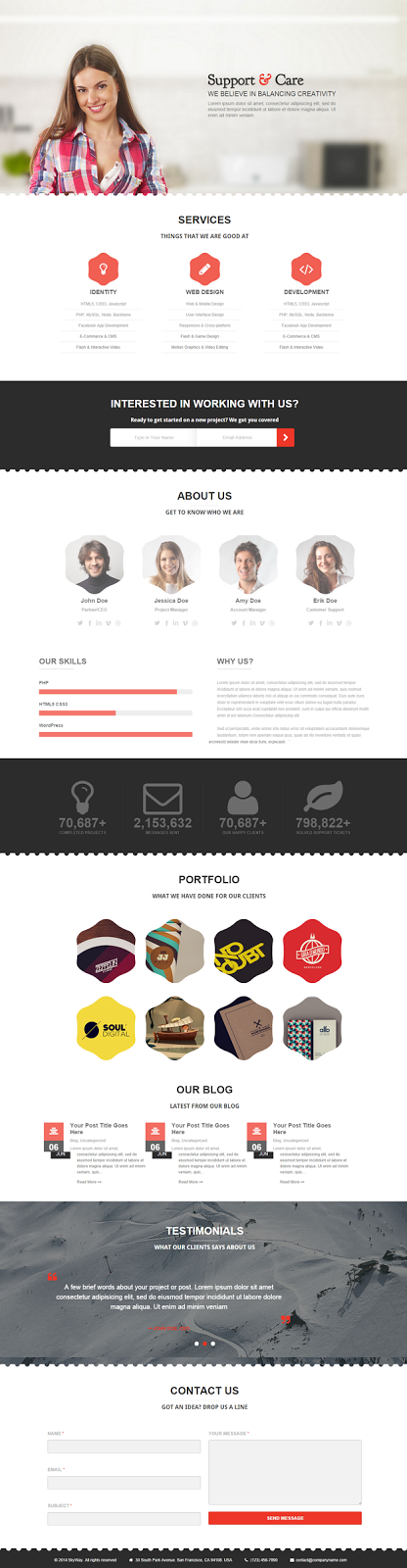 Free One Page WordPress Theme