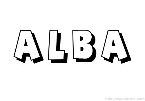 Nombres para colorear: Alba ~ Dibujos para Colorear Infantil