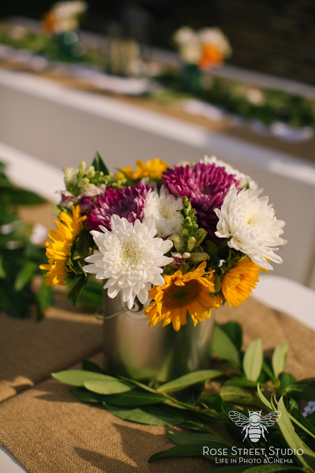 DIY Sunflower silver paint can wedding centerpieces l Rose Street Studios l Take the Cake Event Planning