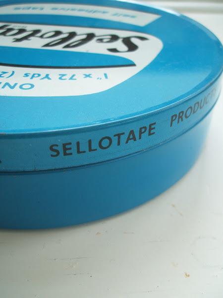 Vintage Love mid century enamel Sellotape tin 1950s