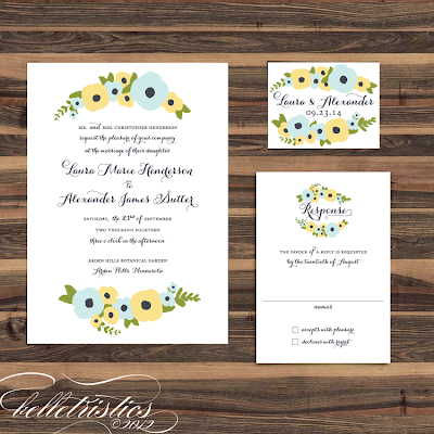 romantic hand drawn floral printable diy wedding invitation