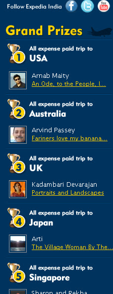 Expedia and IndiBlogger Result