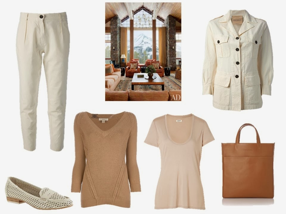Off-white jacket and trousers, with two choices of beige tee shirt or sweater