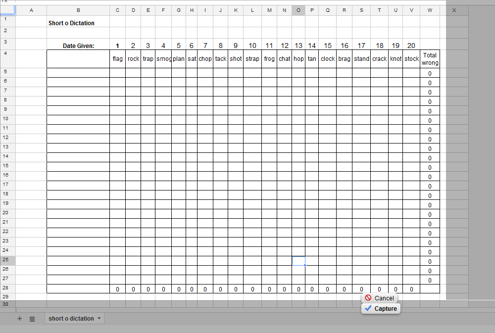 short o excel file for data tracking of dictation without blends and ...