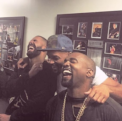 Drake and Kanye laughing at Meek Mill
