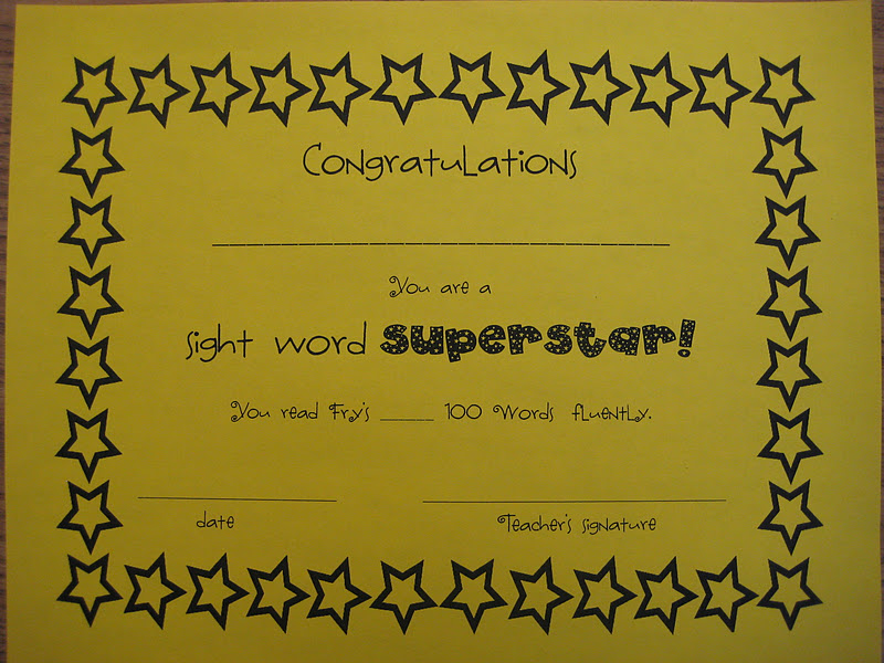 Word  sight & printables Sight Ruined certificate Romance Fluency word