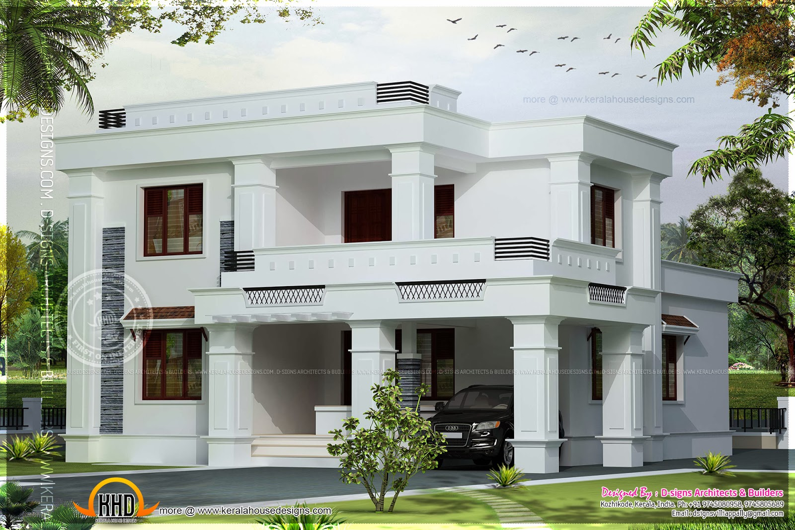 Simple flat roof villa in 2042 square feet indian house for Indian simple house design
