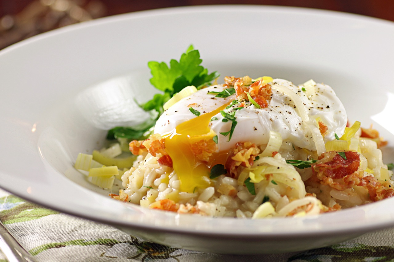 ... Baby, it's Cold Outside: Leek and Pancetta Risotto with Poached Egg