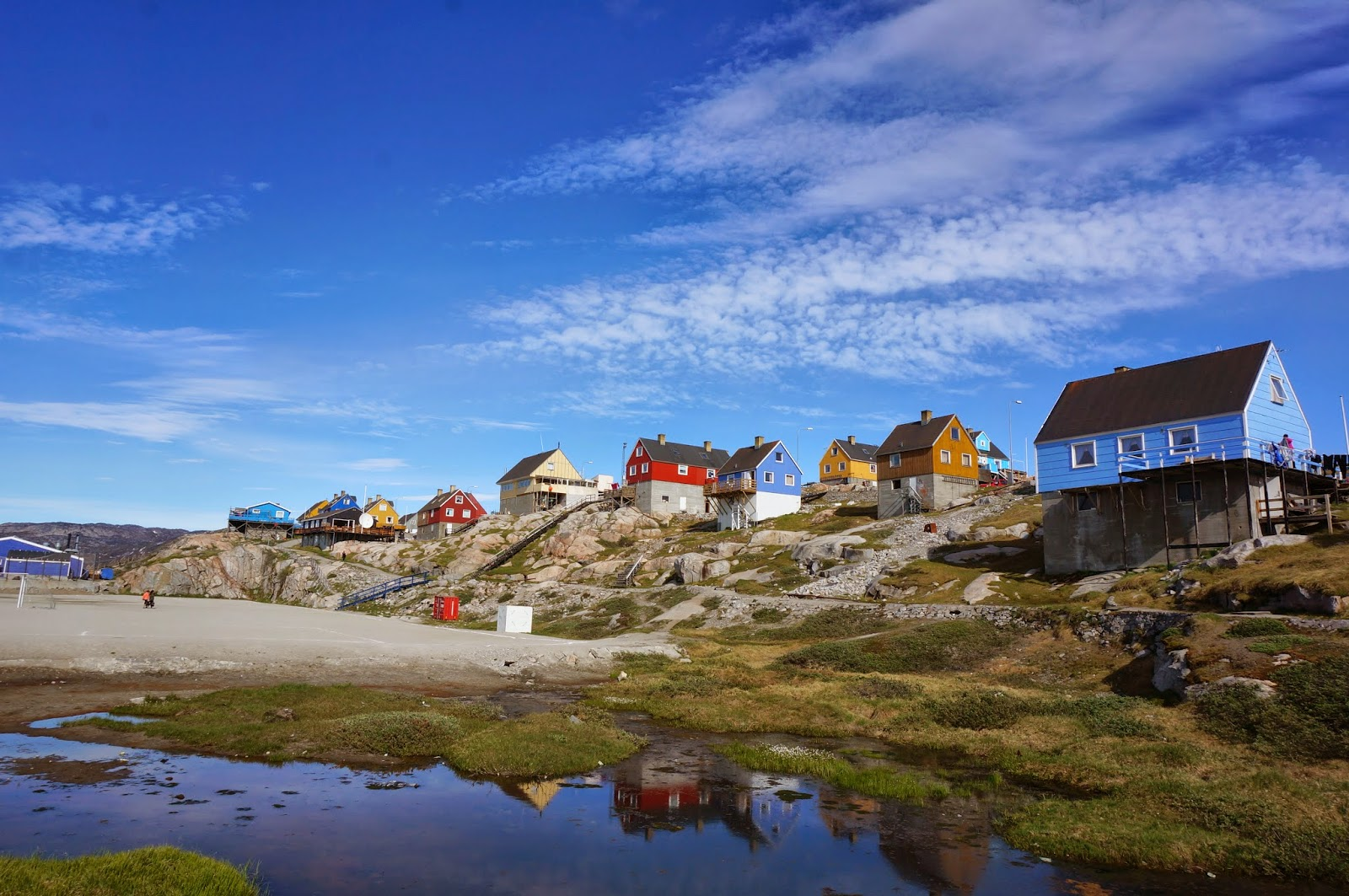 Colourful houses in Ilulissat, western Greenland - gluten-free travellers should make their way here for icebergs, sailing and delicious seafood