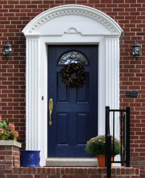 Dark blue front door paint