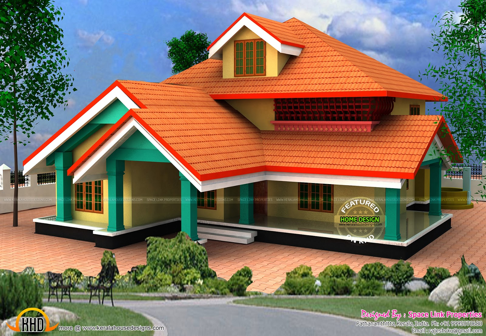 3d elevation to real house kerala home design and floor for Kerala house 3d elevation design