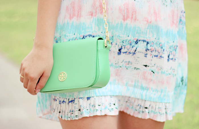 Tory Burch Robinson mint green shoulder bag