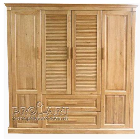 Tủ quần áo gỗ sồi Mỹ 4 cánh 2 ngăn kéo