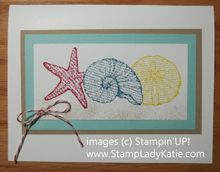 Card made with Stampin'UP! Stamp set: By the Sea and embellished with a Fork Bow