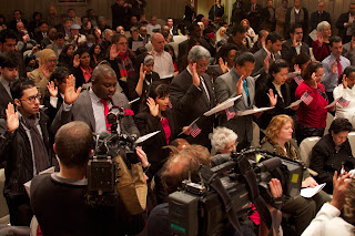 New citizens taking The Oath at Mt. Vernon