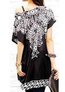 Blusa de Manga Corta Color Negro con Estampado Blanco