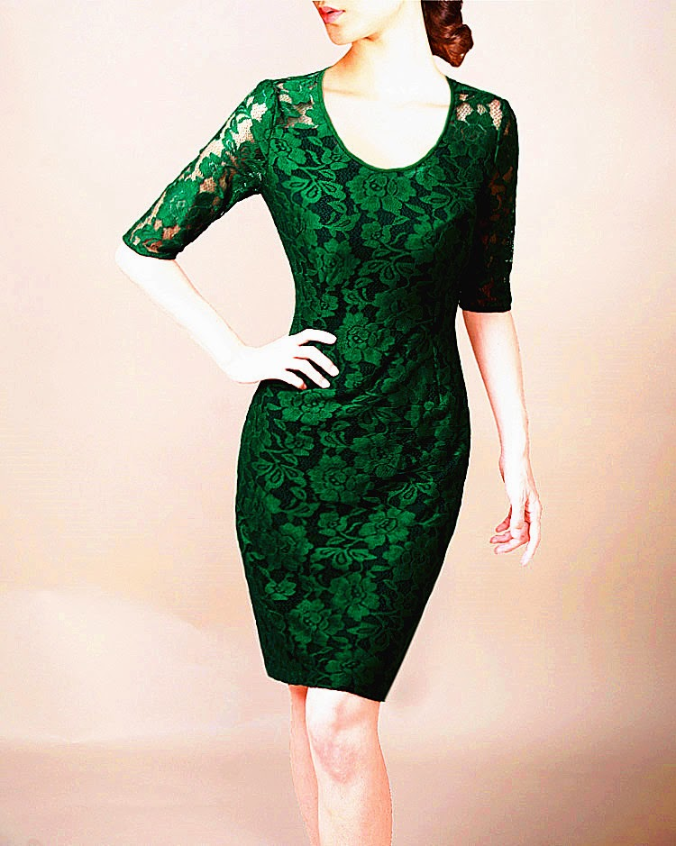 Oriental Rose Green Lace Half Sleeve OL Dress