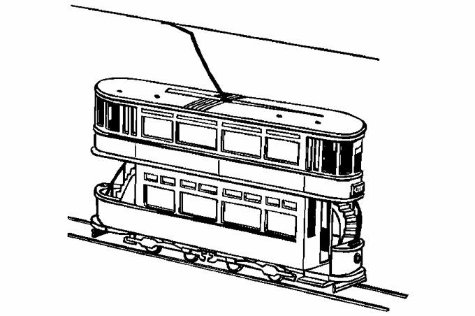 تلوين صورة قطار كهربائي صغير مكون من طبقتين