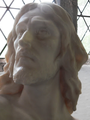 Head statue of Jesus in St Sampson's Church Golant Cornwall