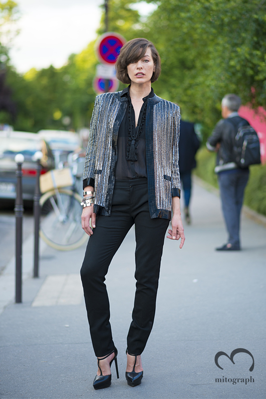 mitograph Milla Jovovich wearing Saint Laurent Paris Mens Fashion Week 2014 Spring Summer PFW Street Style Shimpei Mito