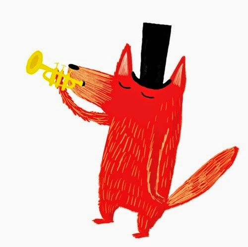 red fox blowing his trumpet artwork illustration by Nadia Shireen