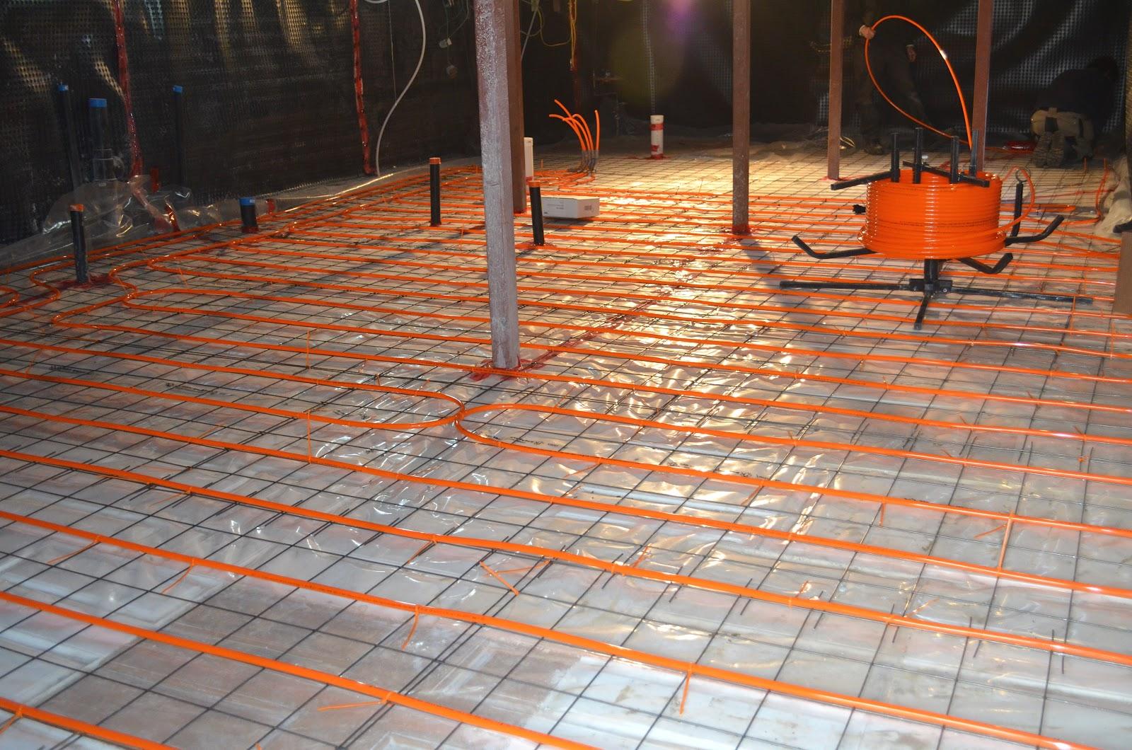 The bennett house finishing the basement floor for Best flooring for hydronic heat
