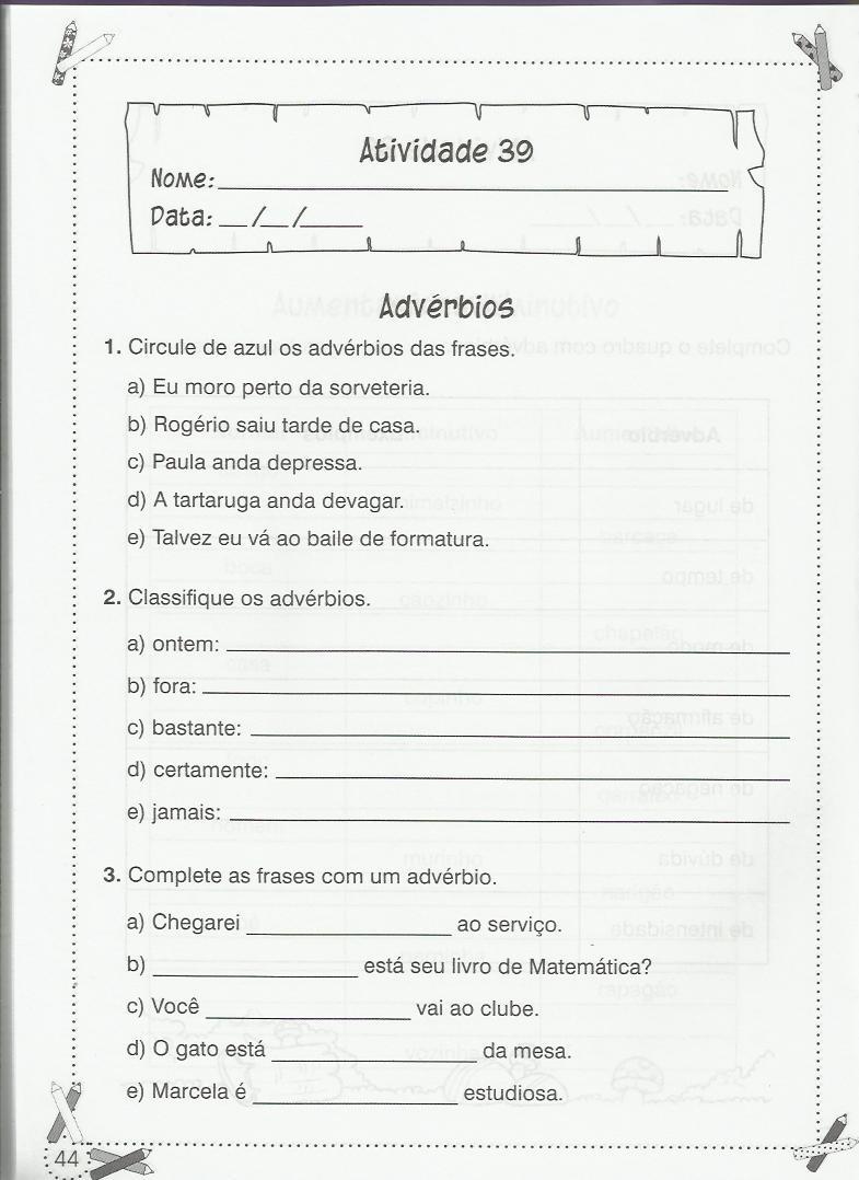 ATIVIDADES PARA O 4   ANO DE L  NGUA PORTUGUESA