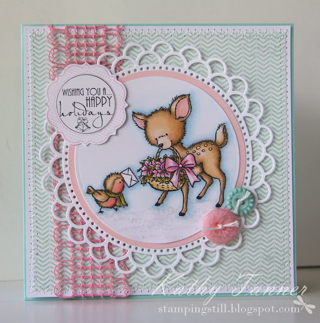 reindeer, christmas card, rudolph, wild rose studio, bluebell with poinsettias, copic