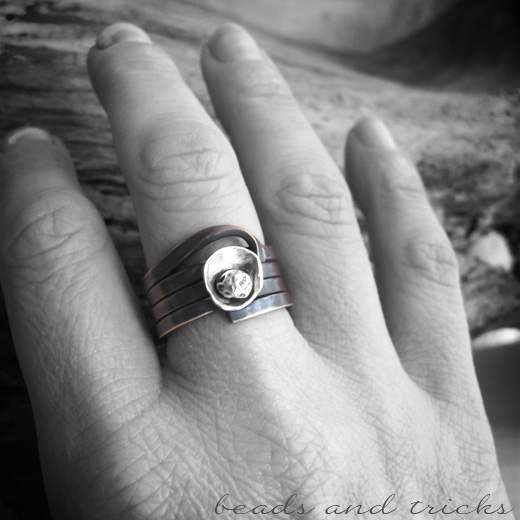 Anello in argento .800 e rame