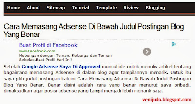 Cara Memasang Adsense Di Bawah Judul Postingan