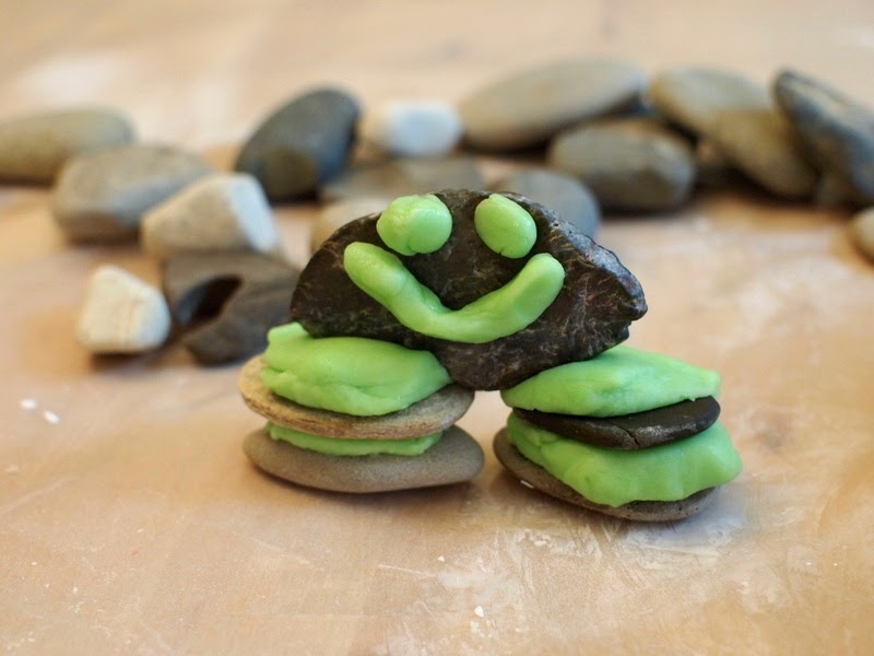 building rock and playdough structures with kids