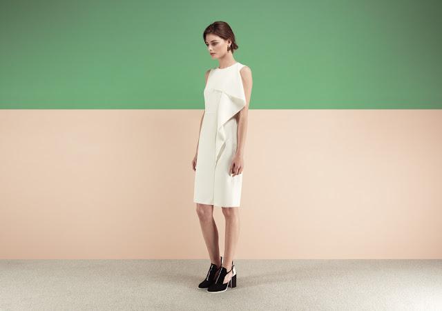 cream frill midi dress, finery cream dress,