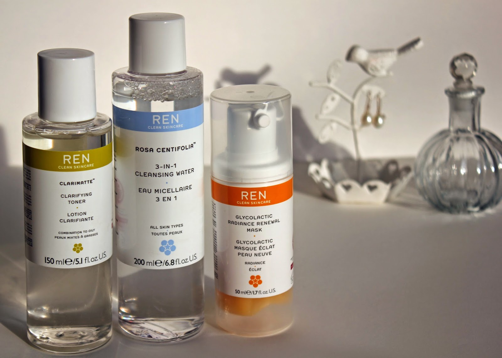 REN Skincare review - clarifying toner, micellar water and glycolactic renewal mask