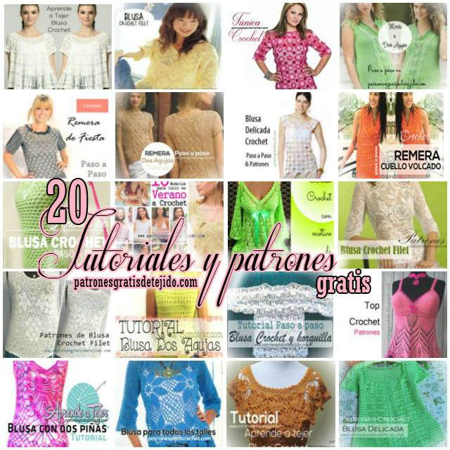 tutoriales y patrones de blusas para tejer con crochet o tricot