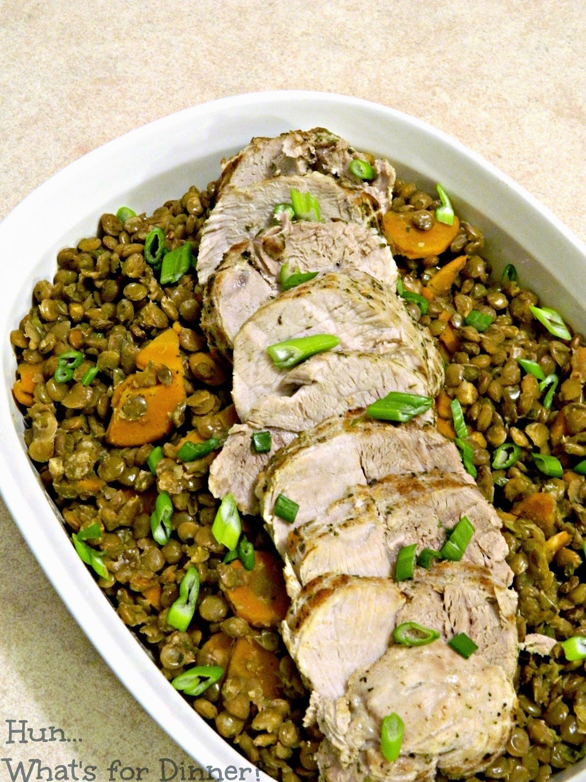 pork sirloin with lentils