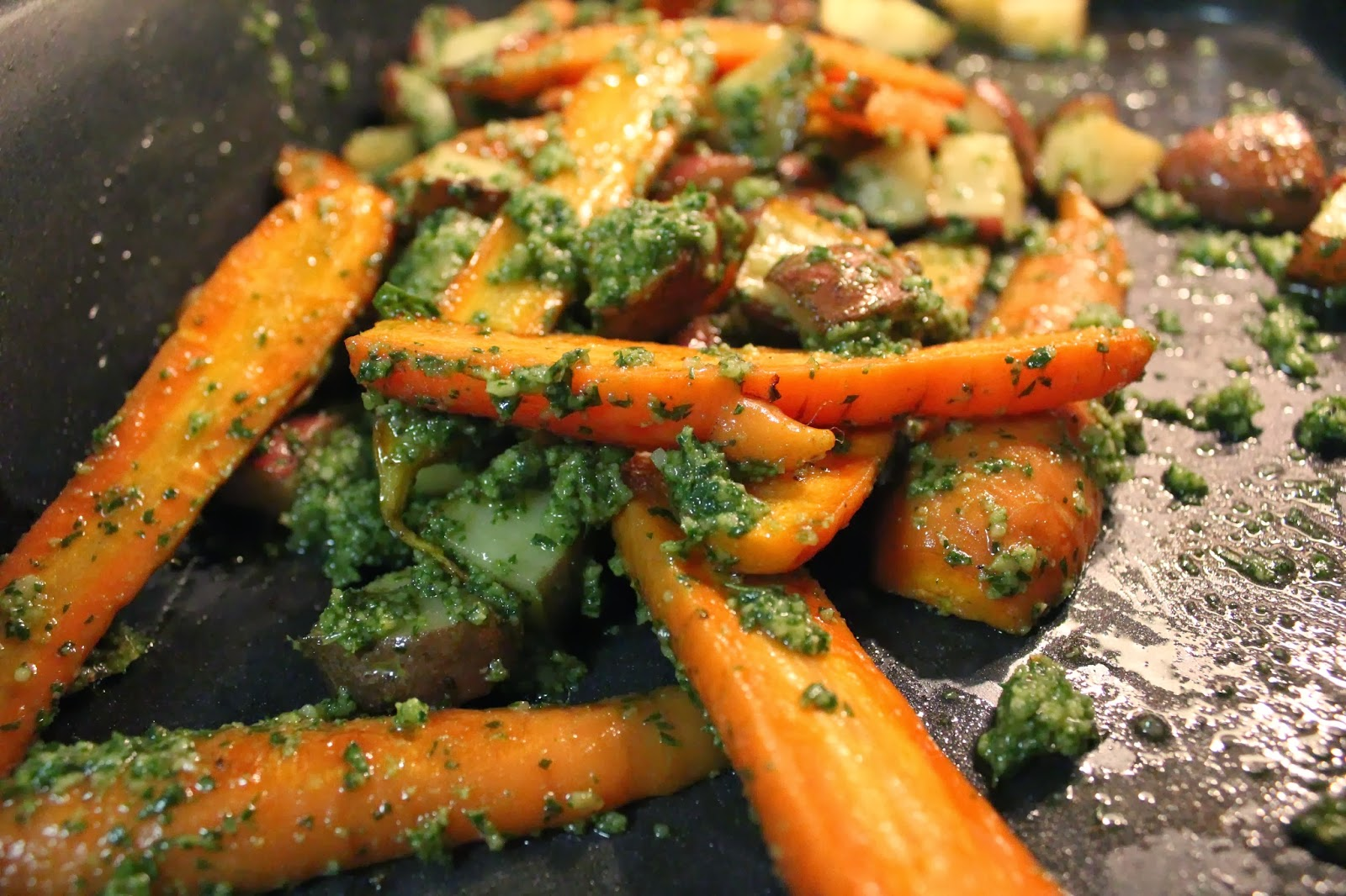 Runaway Apricot | Roasted Carrots with Carrot Top Pesto