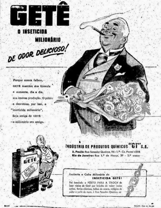 Propaganda do Inseticida Getê com ação promocional veiculada nos anos 50.