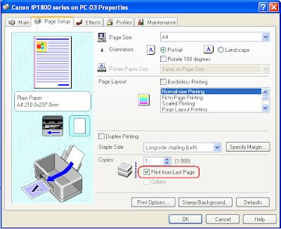 printing preference pada printer Canon