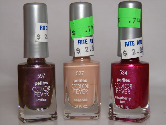 nails nail art nailart polish mani manicure Spellbound Rite Aid haul Sally Hansen Breezy Blue Pink Blink Revlon Bubble Gum Days Urban Nights glitter Girly purple Enchanting Color Fever petites Peach Blush Vintage Gray Creme Blue Periwinkle Potion Raspberry Ice Seashell CQ Pearls Silver Taupe Scherer Chameleon Tiny Dancer Fandango green forest ivy Mist