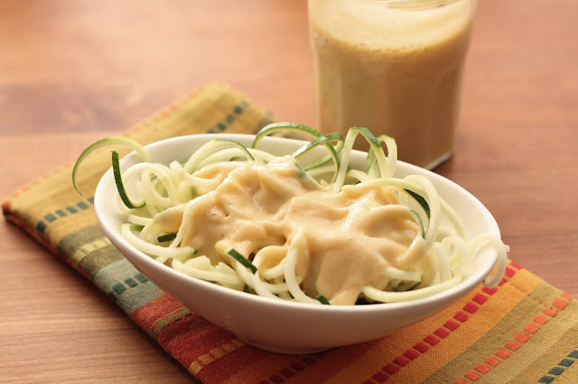 Zucchini Noodles with Creamy Chipotle Sauce recipe by Barefeet In The Kitchen