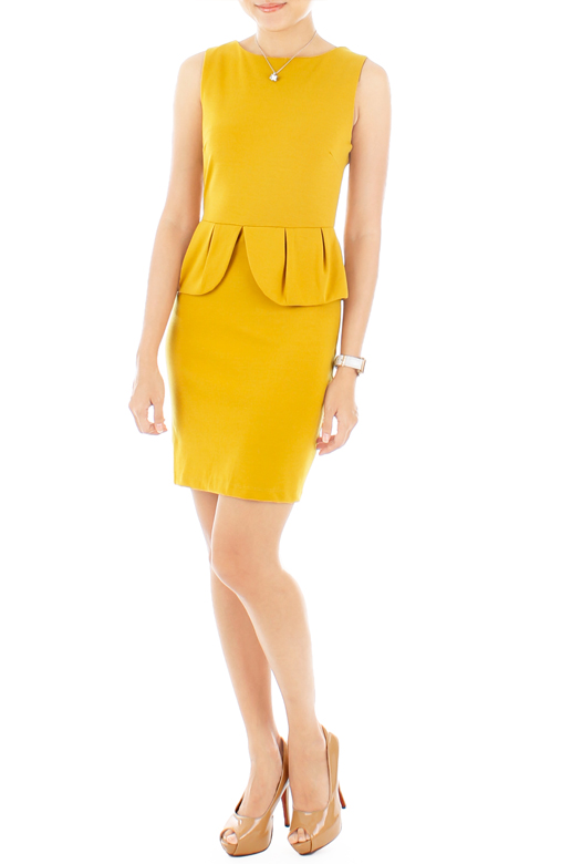 Petal Peplum Dress – Naples Yellow